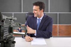 Pracowniany kamery ekranizaci reporter Zdjęcia Royalty Free
