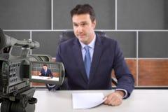 Pracowniany kamery ekranizaci reporter Obrazy Royalty Free