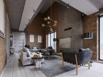 Pracowniany mieszkanie z ścianą z cegieł, graba i nowożytny meble ilustracja wektor