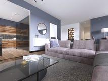 Pracowniany mieszkanie z otwartym żywym pokojem kuchenka i łomotać teren, ilustracja wektor