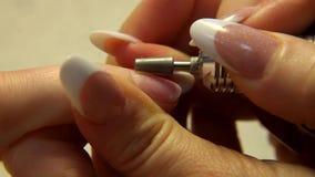 Pracowniany piękno Żeński ręka gwoździ manicure'u zakończenie up zdjęcie wideo