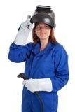 Pracowniany portret żeński spawacz odizolowywający na bielu Fotografia Stock