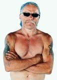 Pracowniany portret bez koszuli pracownika budowlanego być ubranym bandany Fotografia Stock