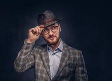 Pracowniany portret brodaty modniś w kapeluszu i szkieł być ubranym zdjęcie stock
