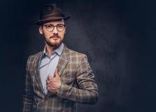 Pracowniany portret brodaty modniś w kapeluszu i szkieł być ubranym zdjęcie royalty free