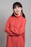 Pracowniany portret lata dwudzieste Azjatycka kobieta wyraża szczęście w różnorodnych akcjach Fotografia Royalty Free