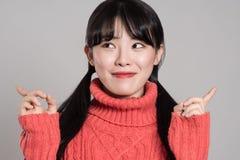 Pracowniany portret lata dwudzieste Azjatycka kobieta wyraża szczęście w różnorodnych akcjach Zdjęcia Royalty Free