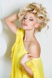 Pracowniany portret oszałamiająco piękno blondynka zdjęcia royalty free