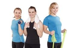 Pracowniany portret trzy dysponowana młoda kobieta odizolowywająca na bielu Zdjęcie Royalty Free