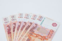 Pracowniany wizerunek 5000 rubli pięć tysięcy gotówka federacji rosyjskiej makro- Rosyjska waluta obrazy stock