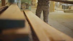 Pracownicy biorą drewnianą deskę dla dalszy przerobu na maszynie w warsztacie meblarska produkcja zdjęcie wideo