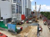 Pracownicy budowlani pracują na budowa projektach Fotografia Stock