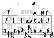 Pracownicy budowlani przy pracą Obrazy Royalty Free
