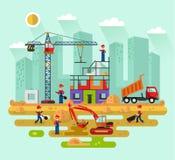 Pracownicy budują dom ilustracja wektor