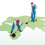 Pracownicy czyści światową mapę royalty ilustracja