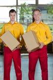 Pracownicy fabryczni z pudełkami Fotografia Stock