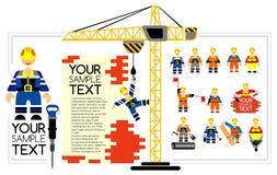 Pracownicy i budowniczowie z narzędziami ilustracja wektor