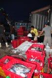 Pracownicy mleją lód konserwować tuńczyk ryba w Hon Ro porcie morskim, Nha Trang miasto Fotografia Stock