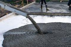 Pracownicy nalewają podstawę dla budowy budynek mieszkalny używać mobilnych betonowych melanżery zdjęcie stock