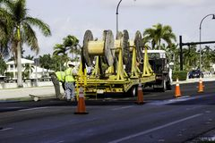 Pracownicy robi ulicznej pracie na Hollywood plaży Obraz Royalty Free