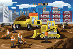 Pracownicy w budowie ilustracja wektor