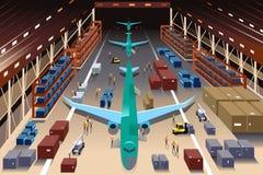 Pracownicy w samolotowej fabryce ilustracja wektor