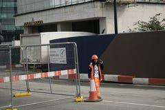14/04/2018 pracowników buduje Londyński UK na Google Zdjęcia Royalty Free