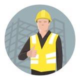 Pracownik budowlany daje aprobatom ilustracja wektor