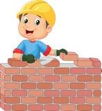 Pracownik budowlany kłaść cegły royalty ilustracja