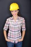 Pracownik budowlany kobiety szczęśliwy portret Obraz Stock