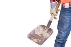 Pracownik budowlany ręka trzyma łopatę Obraz Royalty Free