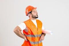 Pracownik Budowlany z budynków planami Zdjęcia Royalty Free