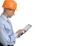 Pracownik budowlany z cyfrową pastylką Zdjęcie Stock