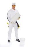 Pracownik budowlany z wiadrem i dachówkowy adhezyjnym Obraz Stock