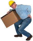 Pracownik Fabryczny, uraz pleców, Odizolowywający obraz stock
