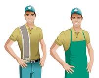 Pracownik jest ubranym błękitnego fartucha wektor ilustracji