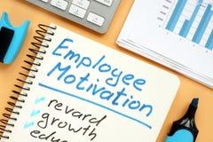 Pracownik motywacji plan z słowami nagroda i przyrost obraz stock