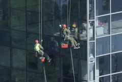 Pracownik myje okno drapacz chmur obraz stock