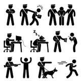 Pracownik Ochrony Funkcjonariusz Policji Złodziej ilustracji