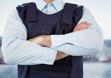 Pracownik ochrony port z rękami składać Fotografia Royalty Free