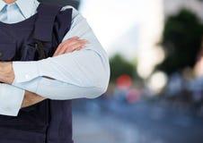 Pracownik ochrony ręki składać w ulicie Fotografia Stock