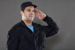 Pracownik ochrony szturmowa pozycja Zdjęcie Stock