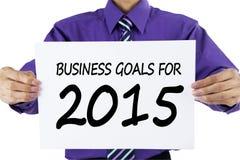 Pracownik przedstawia biznesowych cele dla 2015 Obrazy Stock