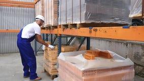 Pracownik przy magazynowego czeka czerwonymi cegłami brogować w sześciany czerwoni bloki cegły w zapasie Magazynowe cegły magazyn zbiory