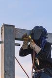 Pracownik spawalnicze części stell budowa Zdjęcia Royalty Free