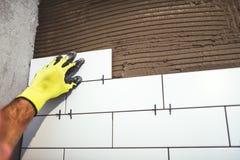 Pracownik trzyma ceramiczne płytki i stosuje cementowy adhezyjnego na łazienek ścianach Zdjęcie Stock