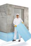 Pracownik trzyma izolacja panel obrazy royalty free