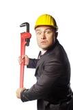 Pracownik w żółtym hełmie Zdjęcia Royalty Free