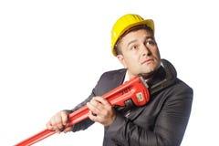 Pracownik w żółtym hełmie Zdjęcia Stock