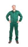 Pracownik w zielonym workwear Zdjęcia Royalty Free
